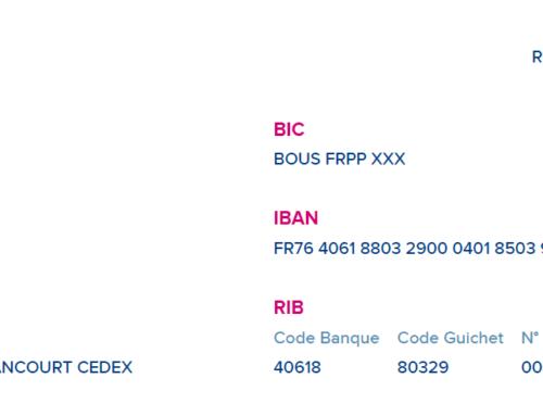RIB  – Informations de paiement